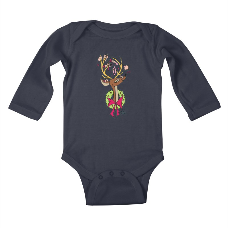 Mike Diana Christmas Trophy Kids Baby Longsleeve Bodysuit by Mike Diana T-Shirts! Horrible Ugly Heads Limited E