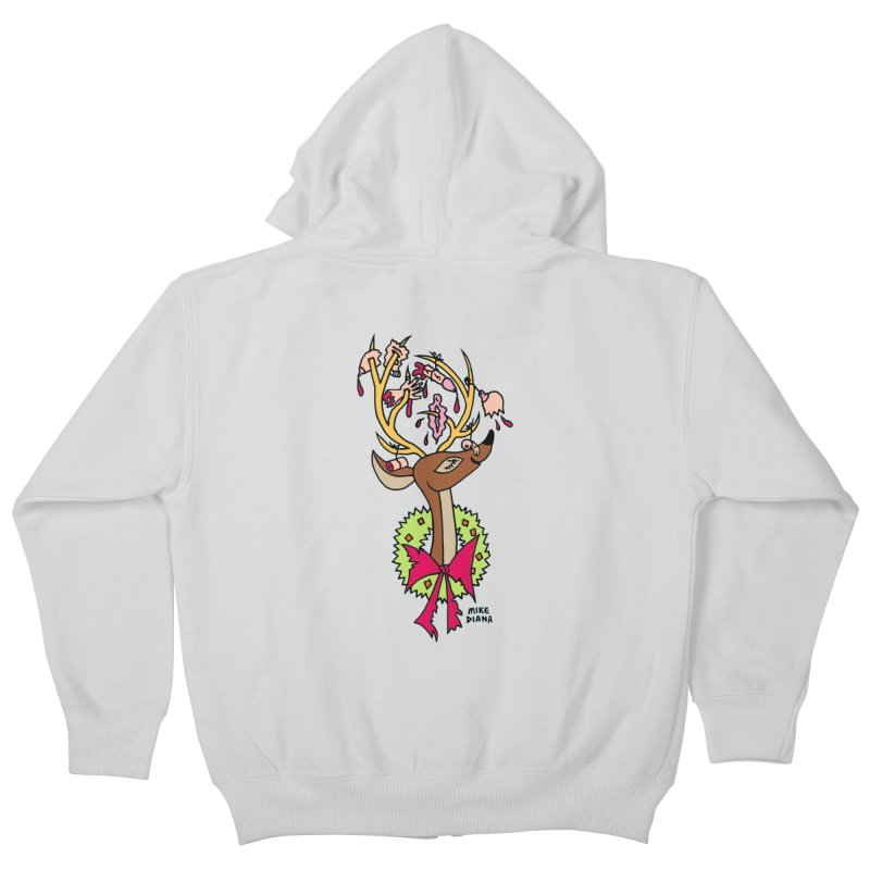 Mike Diana Christmas Trophy Kids Zip-Up Hoody by Mike Diana T-Shirts! Horrible Ugly Heads Limited E