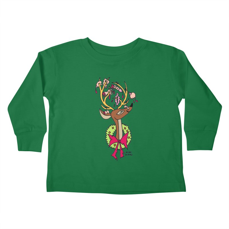 Mike Diana Christmas Trophy Kids Toddler Longsleeve T-Shirt by Mike Diana T-Shirts! Horrible Ugly Heads Limited E