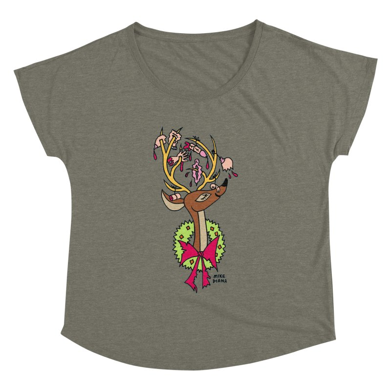 Mike Diana Christmas Trophy Women's Dolman by Mike Diana T-Shirts! Horrible Ugly Heads Limited E