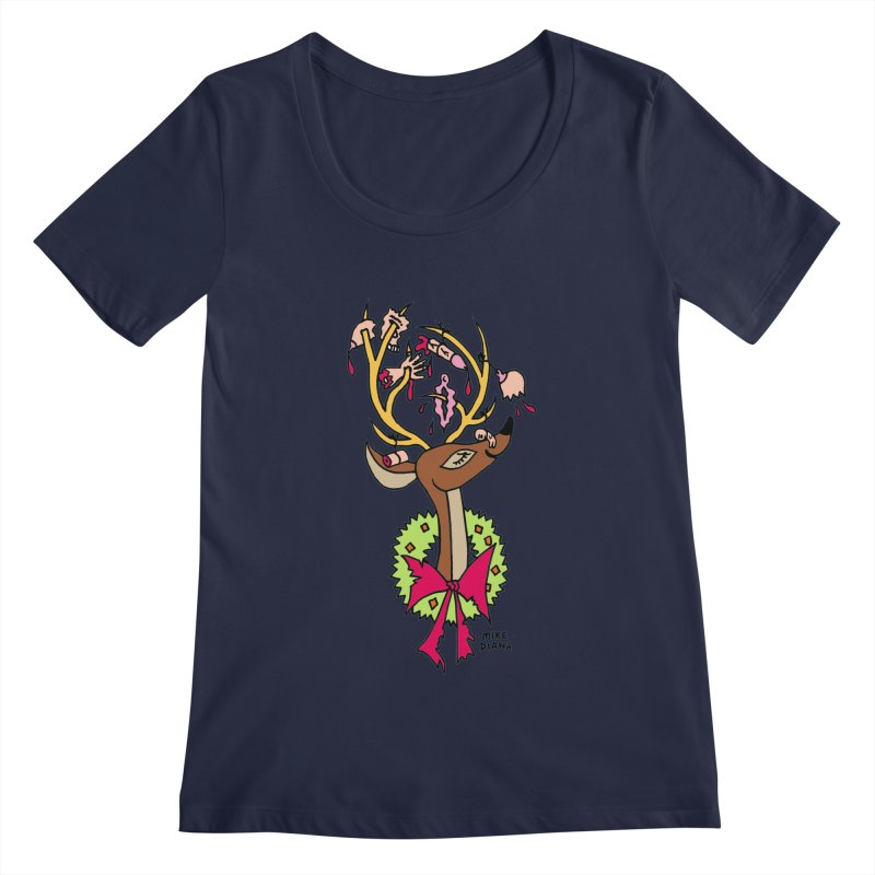 Mike Diana Christmas Trophy Women's Scoopneck by Mike Diana T-Shirts! Horrible Ugly Heads Limited E