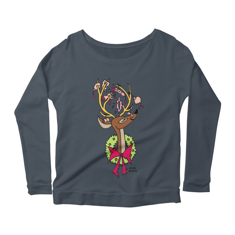 Mike Diana Christmas Trophy Women's Longsleeve Scoopneck  by Mike Diana T-Shirts! Horrible Ugly Heads Limited E