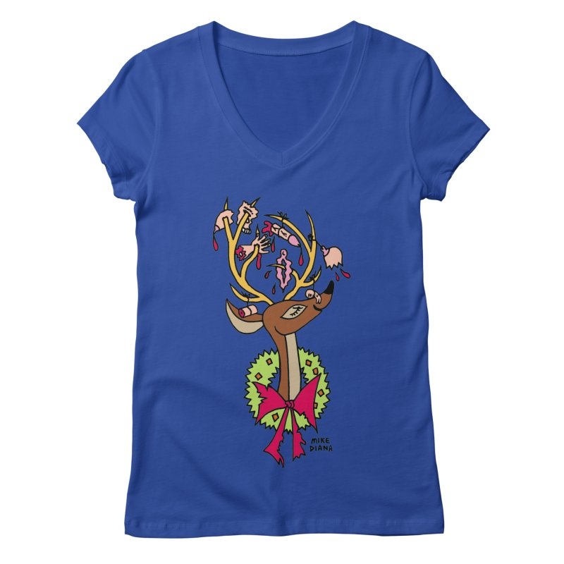 Mike Diana Christmas Trophy Women's V-Neck by Mike Diana T-Shirts! Horrible Ugly Heads Limited E