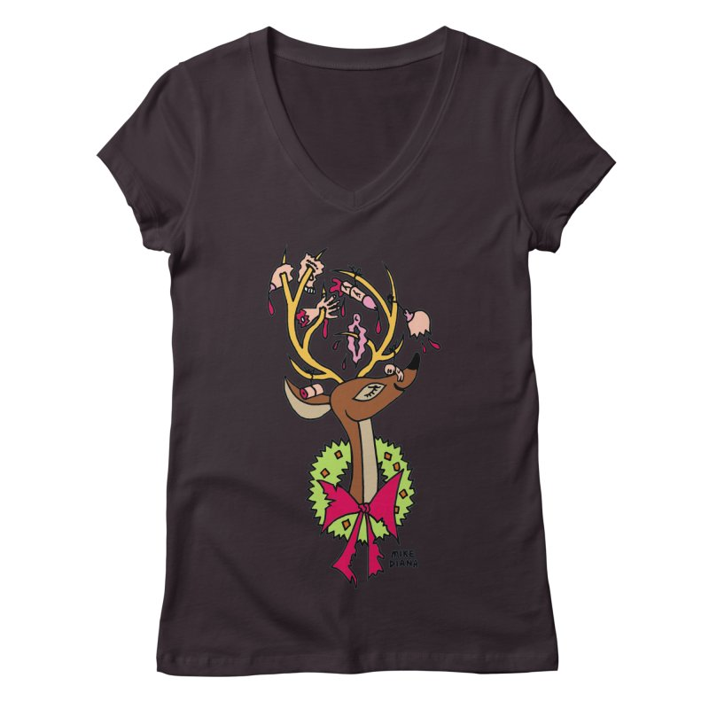 Mike Diana Christmas Trophy Women's Regular V-Neck by Mike Diana T-Shirts! Horrible Ugly Heads Limited E