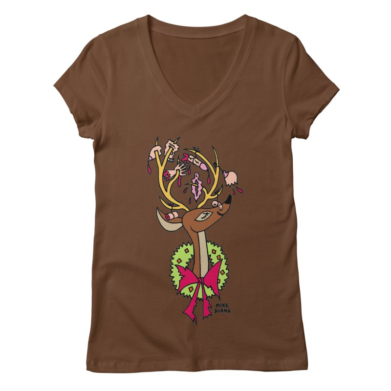 Mike Diana Christmas Trophy Women's Regular V-Neck by Mike Diana T-Shirts Mugs and More!