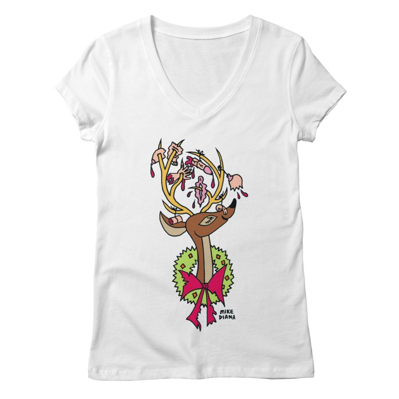 Mike Diana Christmas Trophy Women's  by Mike Diana T-Shirts! Horrible Ugly Heads Limited E