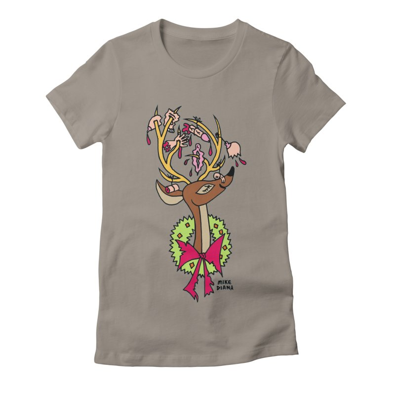 Mike Diana Christmas Trophy Women's Fitted T-Shirt by Mike Diana T-Shirts Mugs and More!