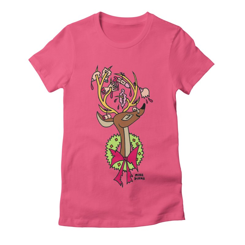 Mike Diana Christmas Trophy Women's Fitted T-Shirt by Mike Diana T-Shirts! Horrible Ugly Heads Limited E
