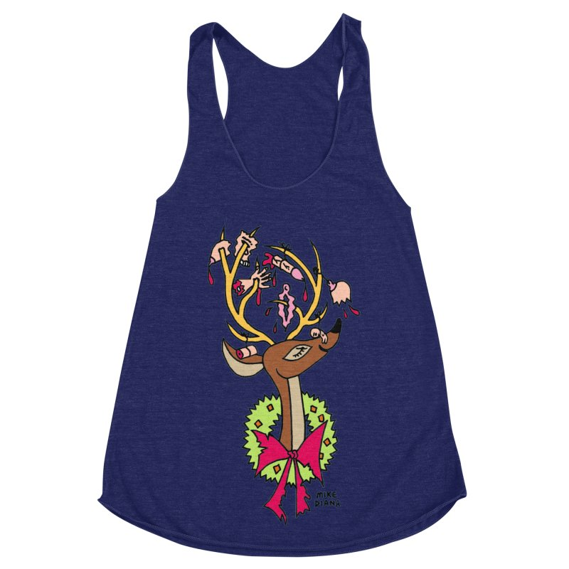 Mike Diana Christmas Trophy Women's Racerback Triblend Tank by Mike Diana T-Shirts Mugs and More!