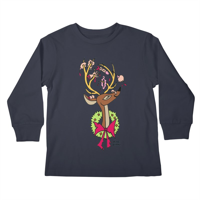 Mike Diana Christmas Trophy Kids Longsleeve T-Shirt by Mike Diana T-Shirts! Horrible Ugly Heads Limited E