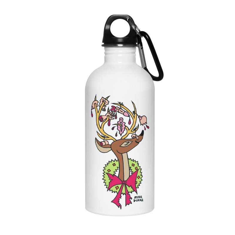 Mike Diana Christmas Trophy Accessories Water Bottle by Mike Diana T-Shirts! Horrible Ugly Heads Limited E