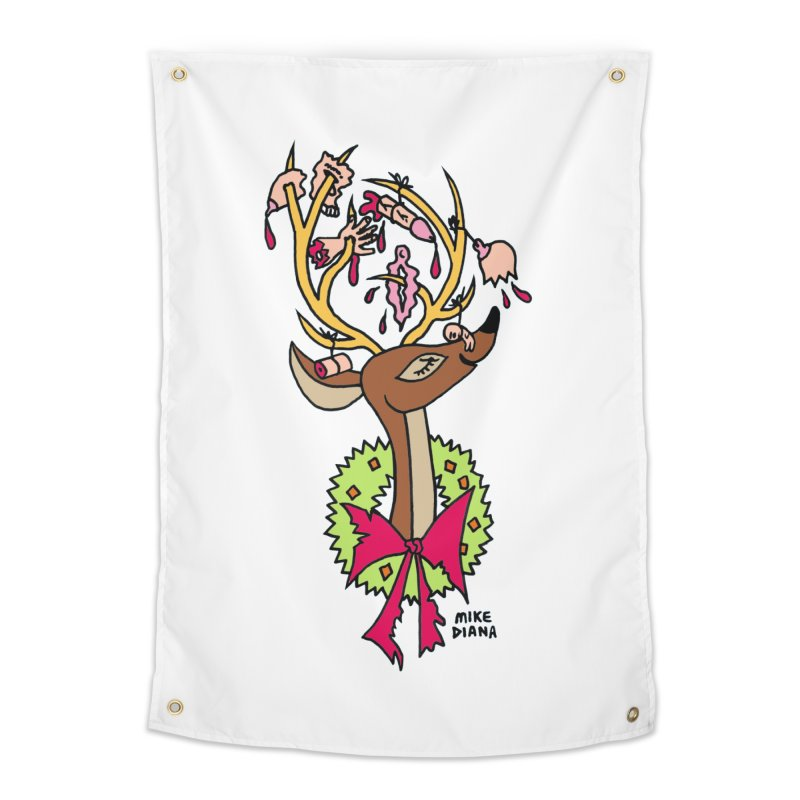 Mike Diana Christmas Trophy Home Tapestry by Mike Diana T-Shirts! Horrible Ugly Heads Limited E