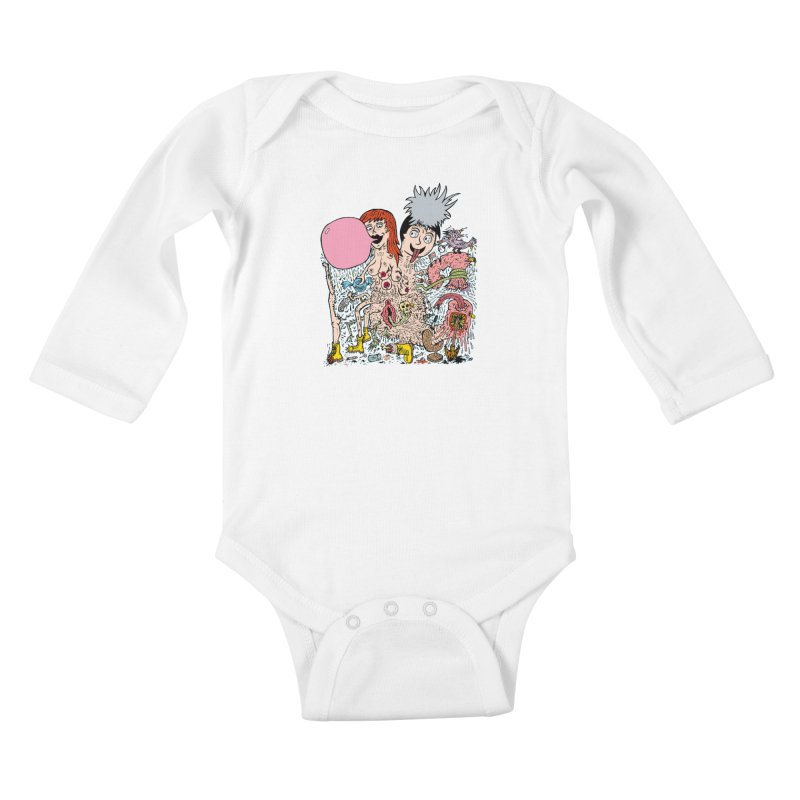 PopTones Kids Baby Longsleeve Bodysuit by Mike Diana T-Shirts! Horrible Ugly Heads Limited E