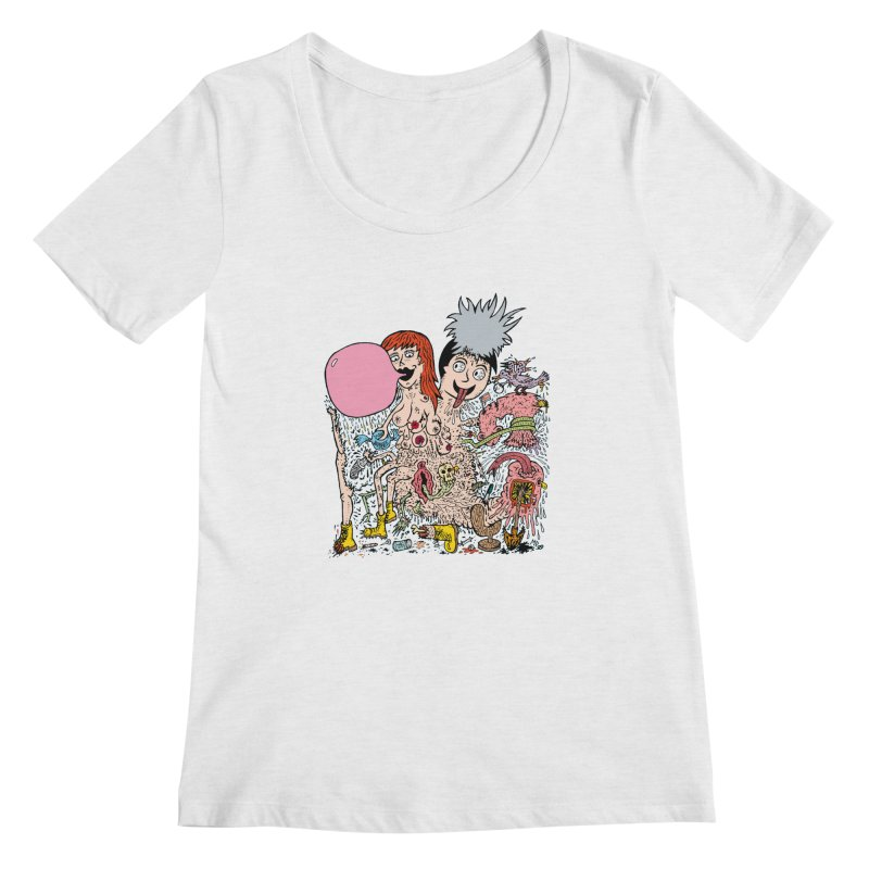 PopTones Women's Scoopneck by Mike Diana T-Shirts! Horrible Ugly Heads Limited E