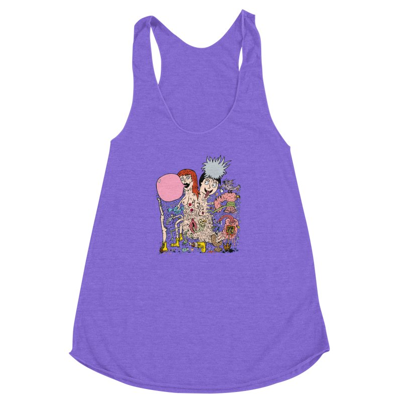 PopTones Women's Racerback Triblend Tank by Mike Diana T-Shirts! Horrible Ugly Heads Limited E