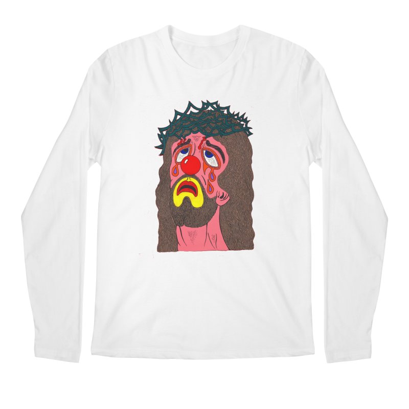 Jesus Clown Men's Longsleeve T-Shirt by Mike Diana T-Shirts! Horrible Ugly Heads Limited E