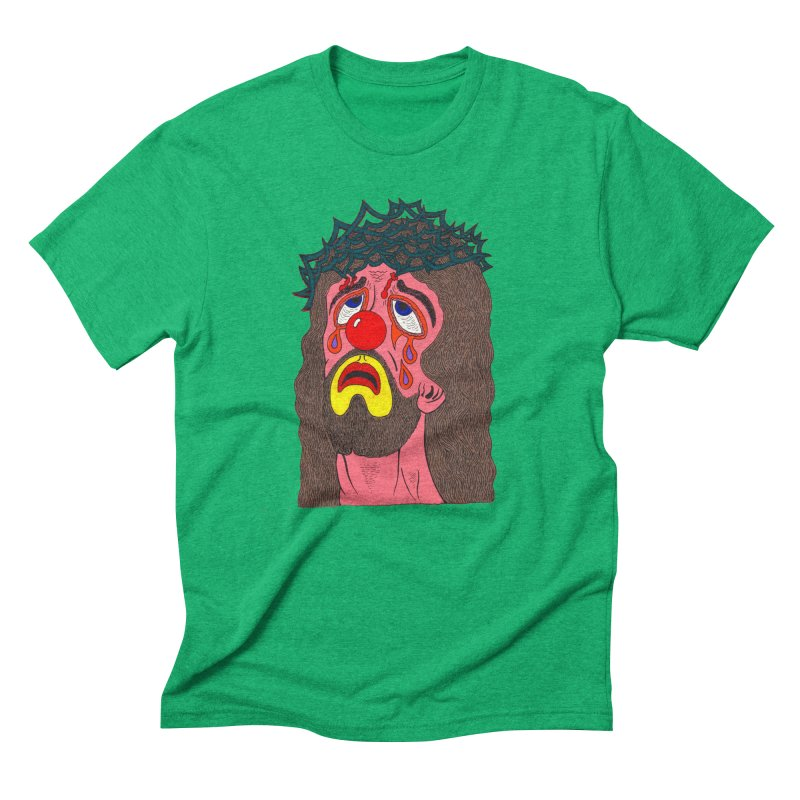 Jesus Clown Men's Triblend T-shirt by Mike Diana T-Shirts! Horrible Ugly Heads Limited E