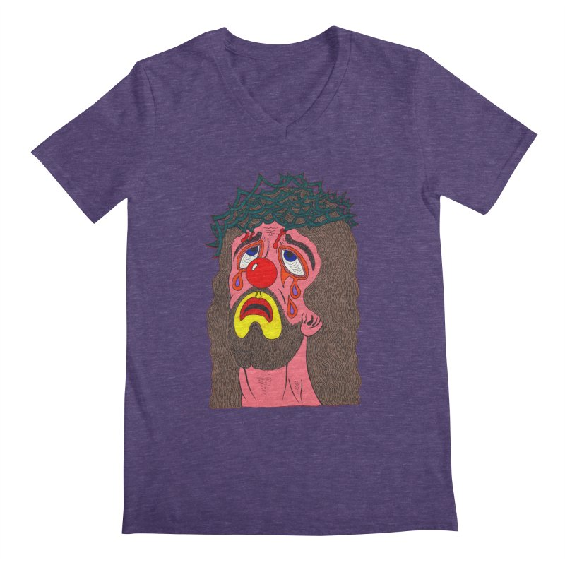 Jesus Clown Men's V-Neck by Mike Diana T-Shirts! Horrible Ugly Heads Limited E