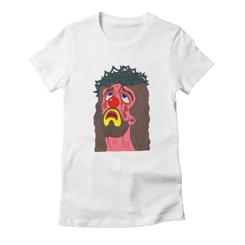 Jesus Clown Women's Fitted T-Shirt by Mike Diana T-Shirts! Horrible Ugly Heads Limited E