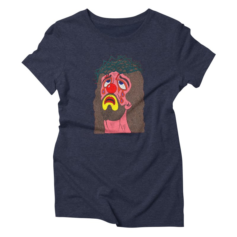 Jesus Clown Women's Triblend T-shirt by Mike Diana T-Shirts! Horrible Ugly Heads Limited E