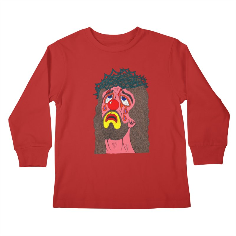 Jesus Clown Kids Longsleeve T-Shirt by Mike Diana T-Shirts! Horrible Ugly Heads Limited E