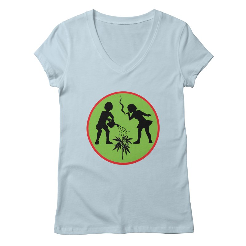 Mean Green Women's V-Neck by Mike Diana T-Shirts! Horrible Ugly Heads Limited E