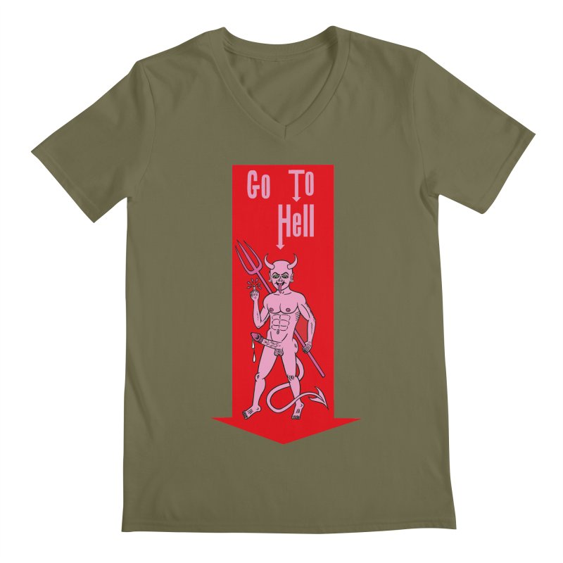 Go To Hell Men's V-Neck by Mike Diana T-Shirts! Horrible Ugly Heads Limited E