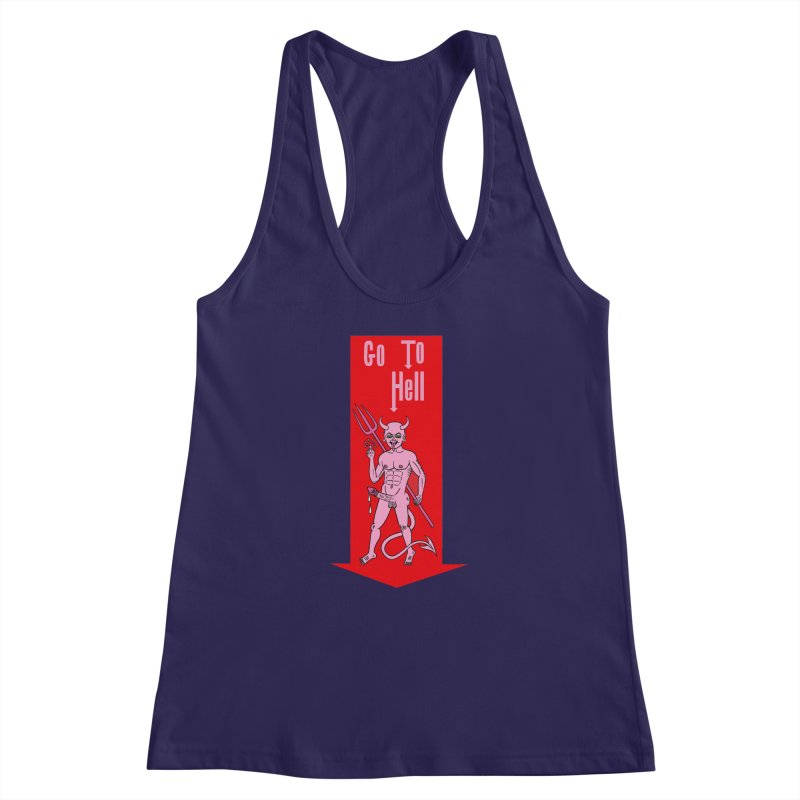 Go To Hell Women's Racerback Tank by Mike Diana T-Shirts! Horrible Ugly Heads Limited E