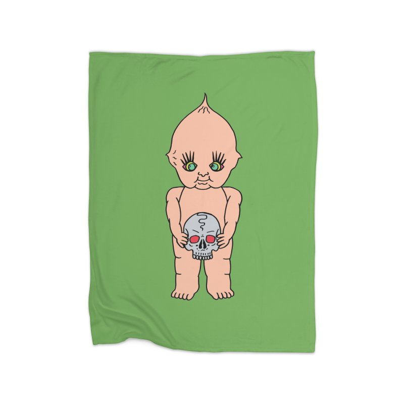 Kewpie With Skull Home Fleece Blanket Blanket by Mike Diana T-Shirts Mugs and More!