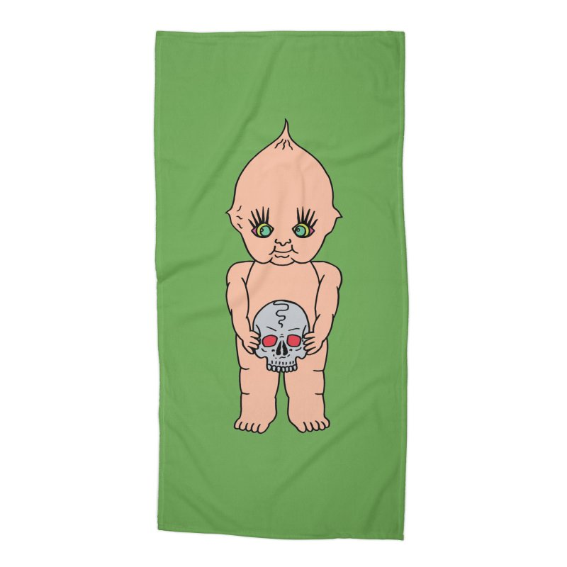 Kewpie With Skull Accessories Beach Towel by Mike Diana T-Shirts Mugs and More!