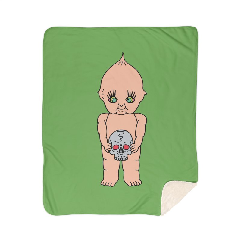 Kewpie With Skull Home Sherpa Blanket Blanket by Mike Diana T-Shirts Mugs and More!