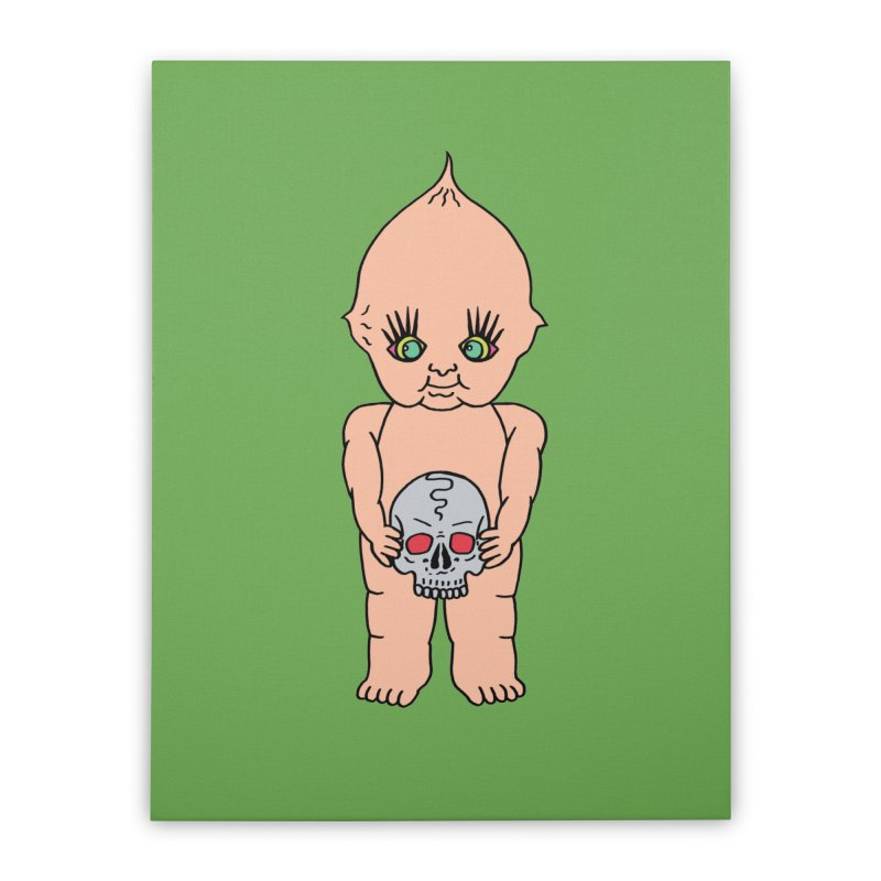 Kewpie With Skull Home Stretched Canvas by Mike Diana T-Shirts Mugs and More!