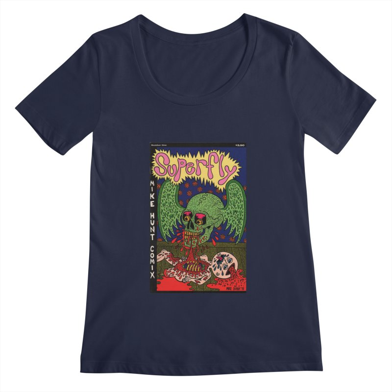 SUPERFLY Women's Scoopneck by Mike Diana T-Shirts! Horrible Ugly Heads Limited E