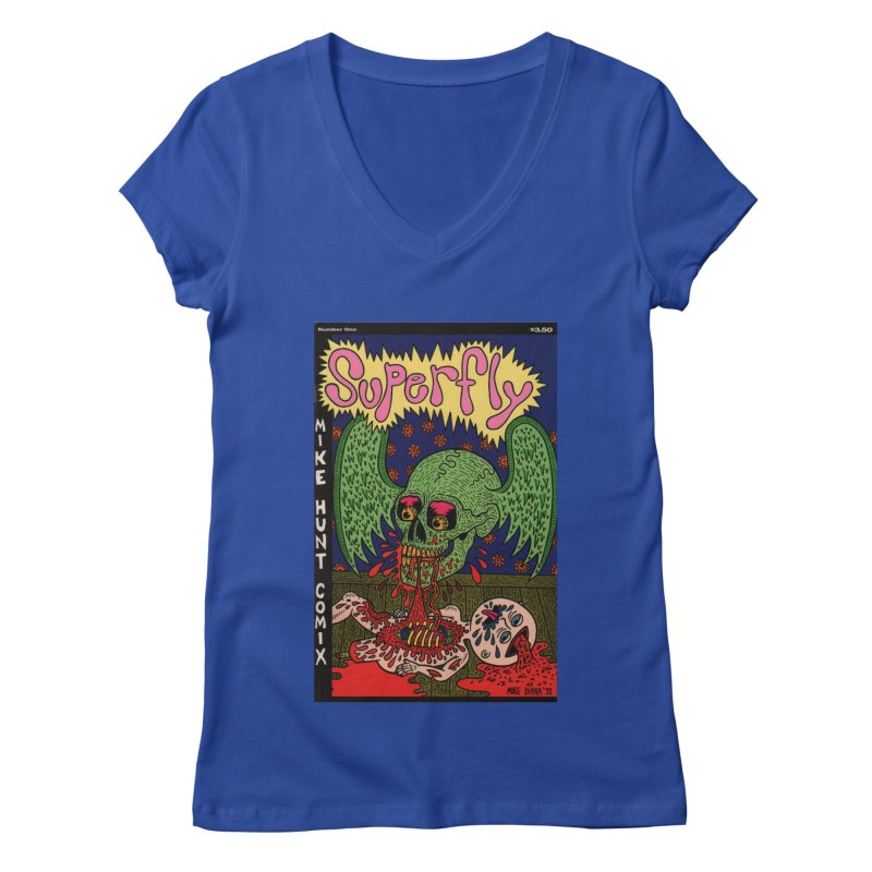 SUPERFLY Women's V-Neck by Mike Diana T-Shirts! Horrible Ugly Heads Limited E