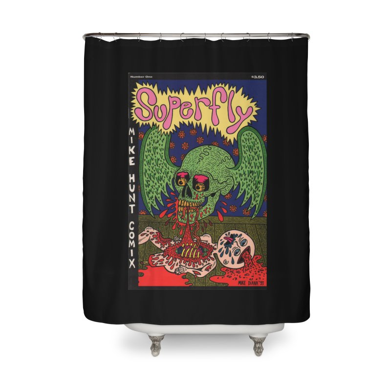SUPERFLY Home Shower Curtain by Mike Diana T-Shirts! Horrible Ugly Heads Limited E