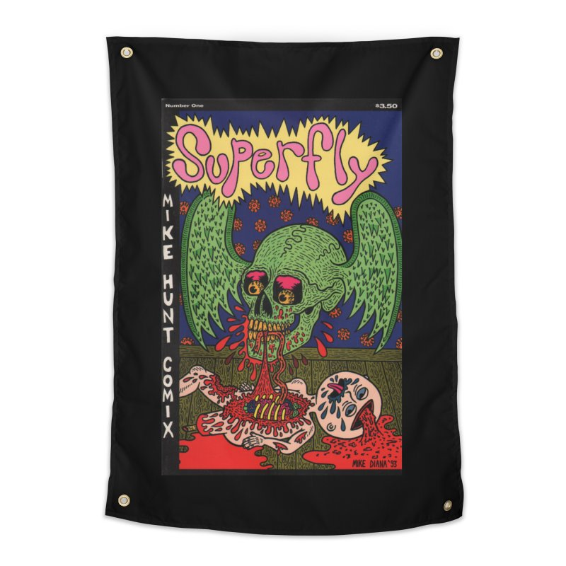 SUPERFLY Home Tapestry by Mike Diana T-Shirts! Horrible Ugly Heads Limited E