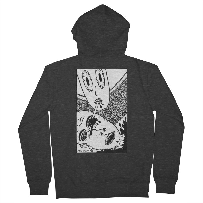"""Mike Diana """"Sip"""" Men's French Terry Zip-Up Hoody by Mike Diana T-Shirts! Horrible Ugly Heads Limited E"""