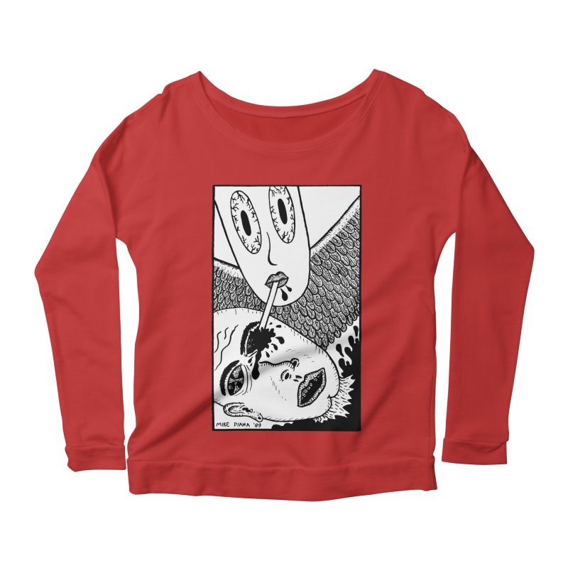 "Mike Diana ""Sip"" Women's Scoop Neck Longsleeve T-Shirt by Mike Diana T-Shirts! Horrible Ugly Heads Limited E"