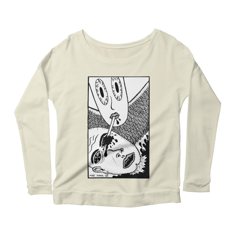 """Mike Diana """"Sip"""" Women's Longsleeve Scoopneck  by Mike Diana T-Shirts! Horrible Ugly Heads Limited E"""