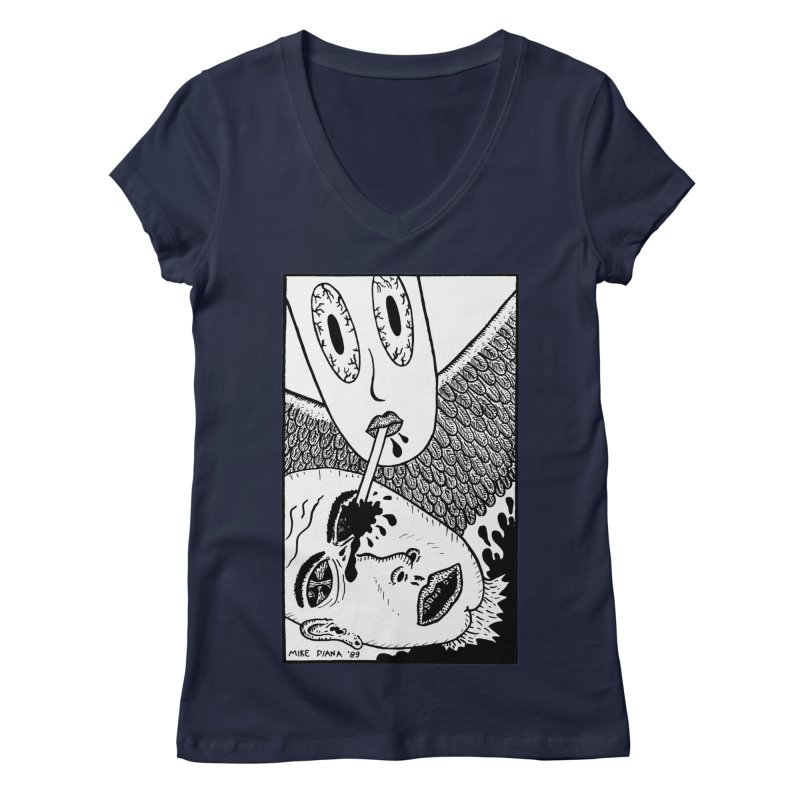 """Mike Diana """"Sip"""" Women's V-Neck by Mike Diana T-Shirts! Horrible Ugly Heads Limited E"""
