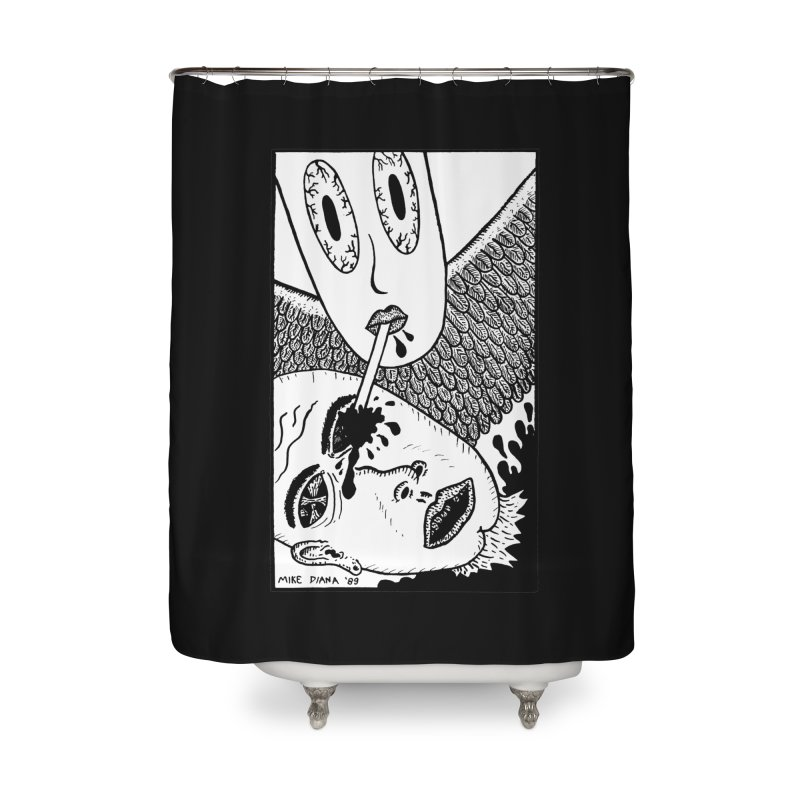 "Mike Diana ""Sip"" Home Shower Curtain by Mike Diana T-Shirts! Horrible Ugly Heads Limited E"