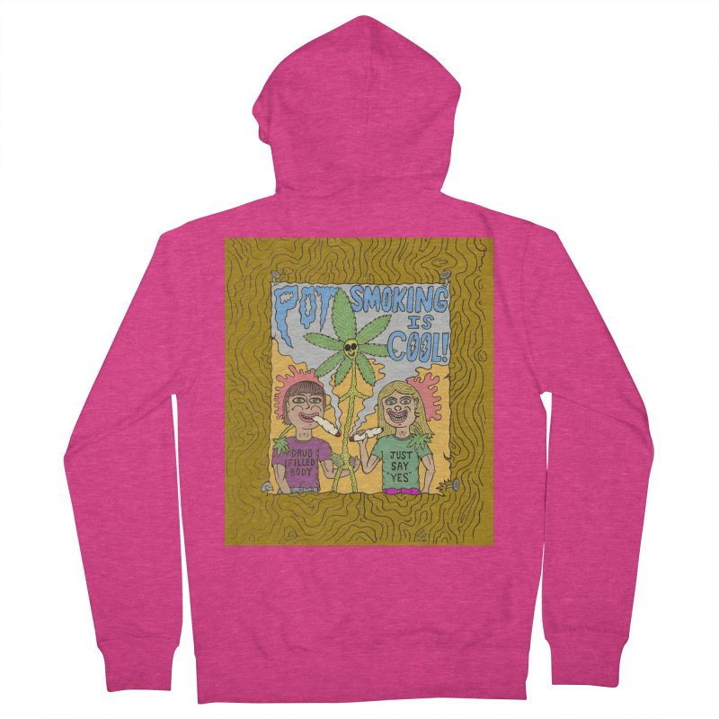 Pot Smoking Is Cool by Mike Diana Women's French Terry Zip-Up Hoody by Mike Diana T-Shirts! Horrible Ugly Heads Limited E