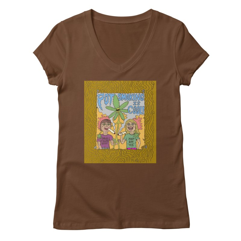 Pot Smoking Is Cool by Mike Diana Women's Regular V-Neck by Mike Diana T-Shirts! Horrible Ugly Heads Limited E