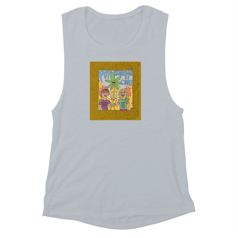 Pot Smoking Is Cool by Mike Diana Women's Muscle Tank by Mike Diana T-Shirts! Horrible Ugly Heads Limited E