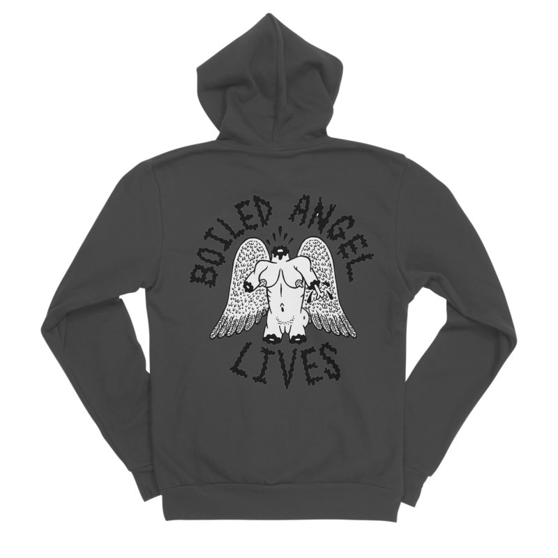 Boiled Angel Lives Women's Sponge Fleece Zip-Up Hoody by Mike Diana T-Shirts! Horrible Ugly Heads Limited E