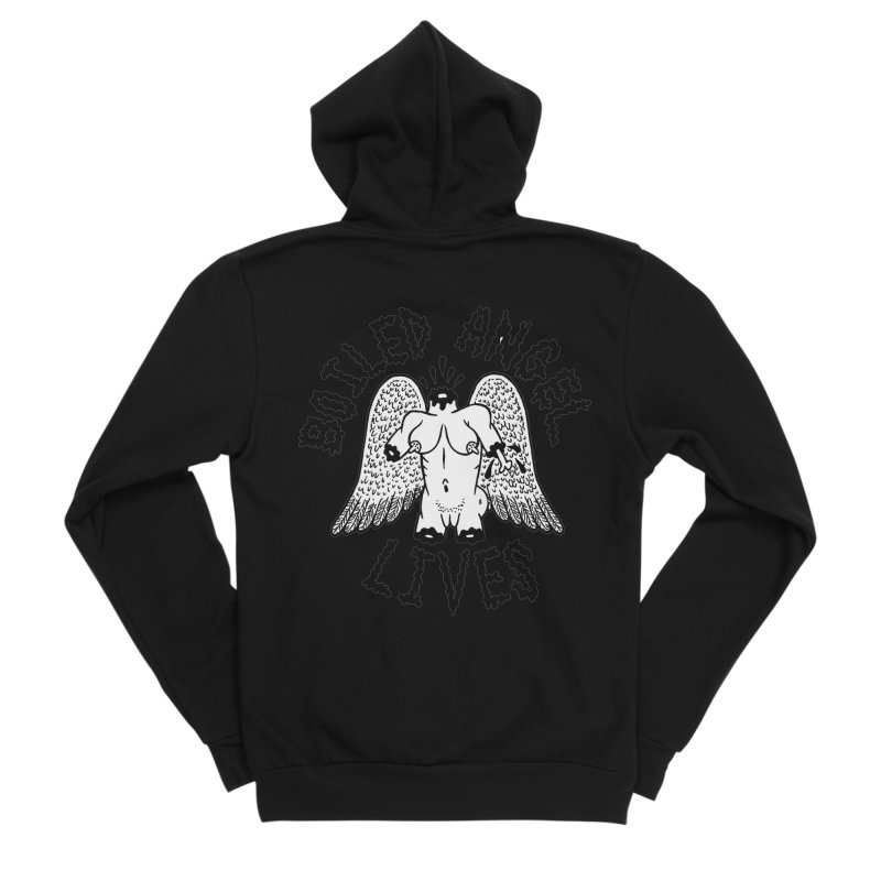 Boiled Angel Lives Men's Sponge Fleece Zip-Up Hoody by Mike Diana T-Shirts! Horrible Ugly Heads Limited E