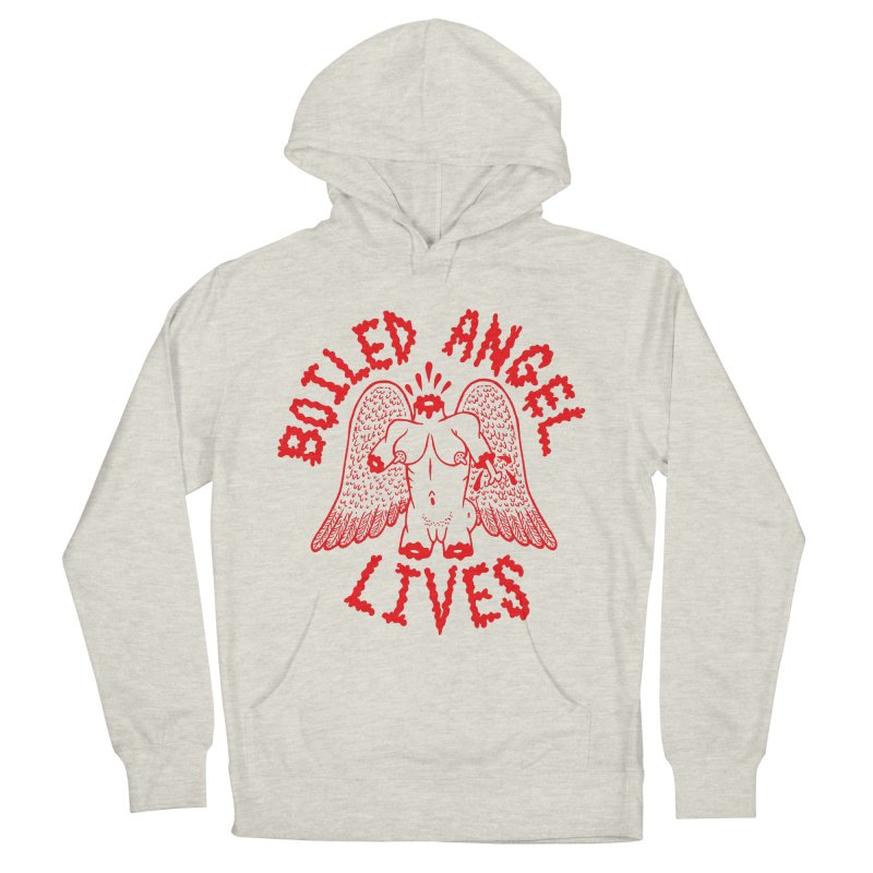 Mike Diana - BOILED ANGEL LIVES - Red Women's French Terry Pullover Hoody by Mike Diana T-Shirts! Horrible Ugly Heads Limited E