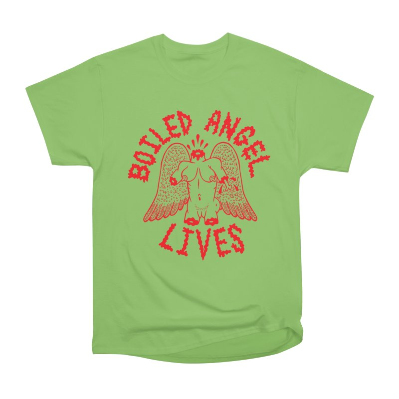 Mike Diana - BOILED ANGEL LIVES - Red Women's Heavyweight Unisex T-Shirt by Mike Diana T-Shirts Mugs and More!