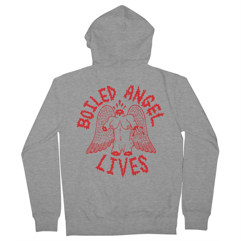 Mike Diana - BOILED ANGEL LIVES - Red Women's French Terry Zip-Up Hoody by Mike Diana T-Shirts! Horrible Ugly Heads Limited E