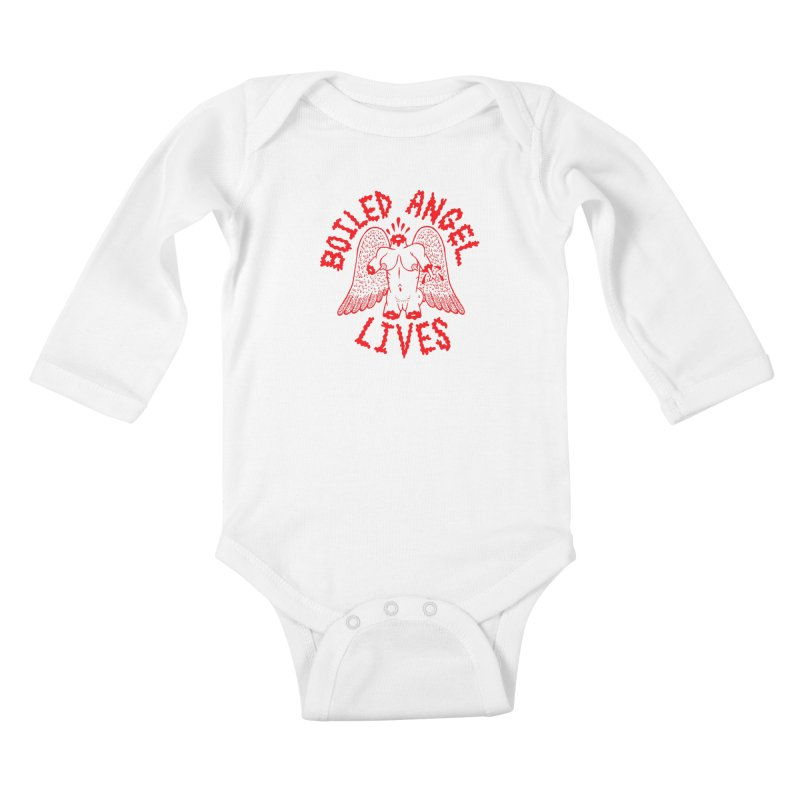 Mike Diana - BOILED ANGEL LIVES - Red Kids Baby Longsleeve Bodysuit by Mike Diana T-Shirts Mugs and More!